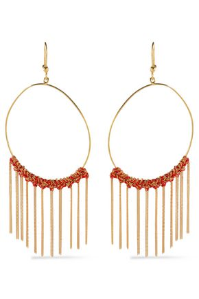 CAROLINA BUCCI 18-karat gold and cord tasseled earrings