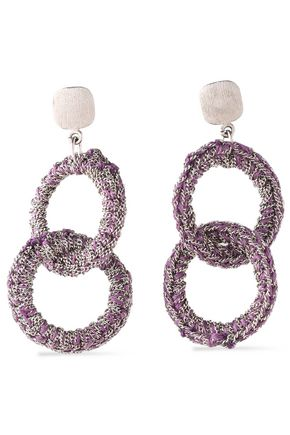 CAROLINA BUCCI 18-karat white gold and cord earrings