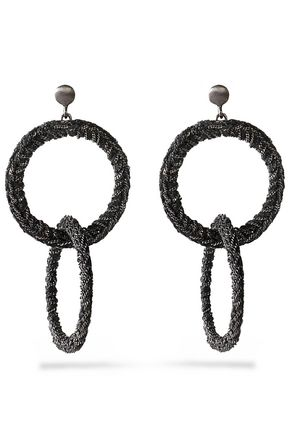 CAROLINA BUCCI Gunmetal-tone 18-karat gold and cord earrings