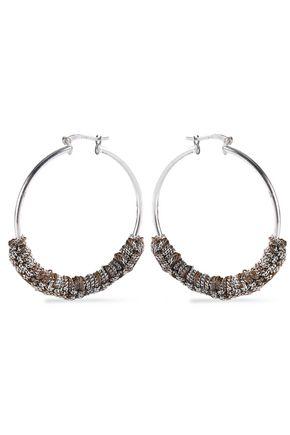 CAROLINA BUCCI 18-karat white gold and cord hoop earrings