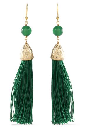 ROSANTICA Tasseled gold-tone bead earrings