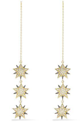 NOIR JEWELRY Star Crossed gold and gunmetal-tone crystal earrings