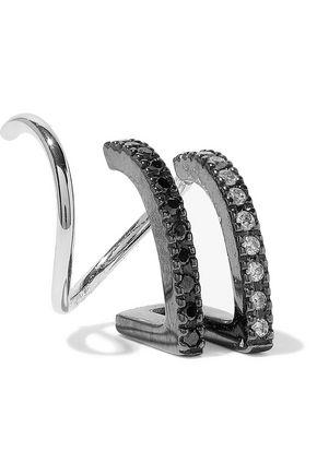 MARIA BLACK Bess Mono Twirl oxidized 14-karat white gold, rhodium-plated and diamond ear cuff