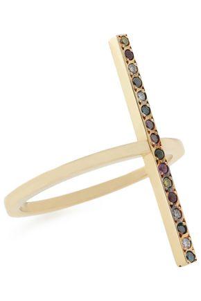 ILEANA MAKRI Double Cross Over 18-karat gold multi-stone ring