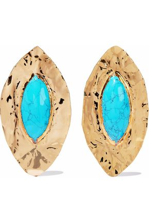 BALMAIN Hammered gold-tone turquoise earrings