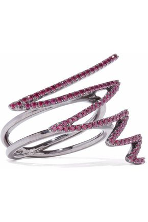 KHAI KHAI Oxidized 18-karat white gold ruby ring