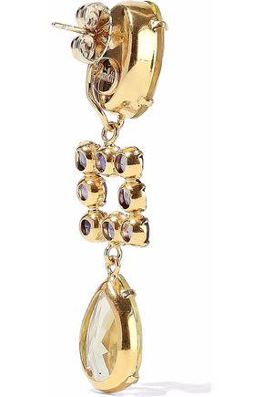 BOUNKIT Gold-tone, quartz and lolite earrings