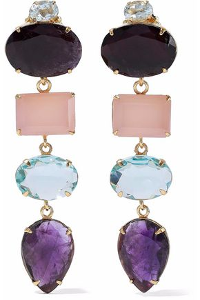 BOUNKIT Gold-tone multi-stone earrings