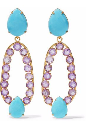 BOUNKIT Gold-tone stone and crystal earrings
