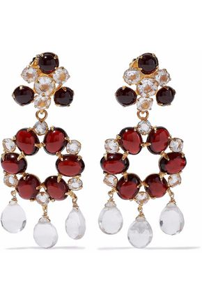 BOUNKIT Gold-tone, garnet and quartz earrings