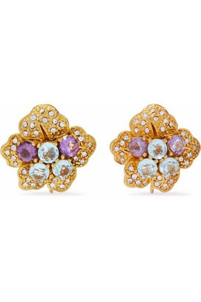 BOUNKIT Gold-tone crystal earrings
