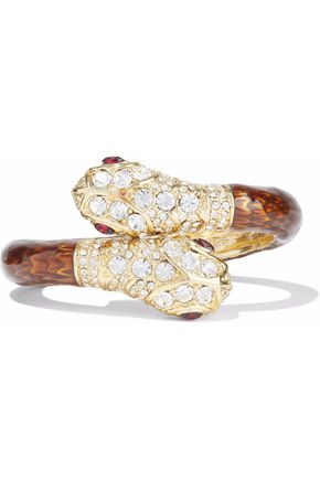 KENNETH JAY LANE Gold-tone crystal and resin bangle