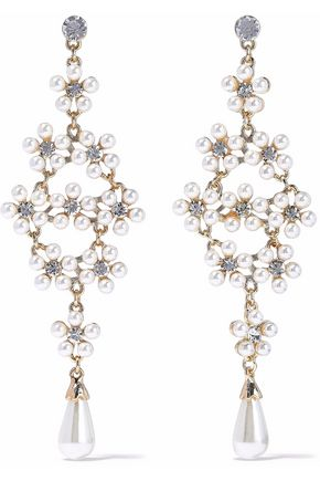 KENNETH JAY LANE Gold-tone, crystal and faux pearl earrings