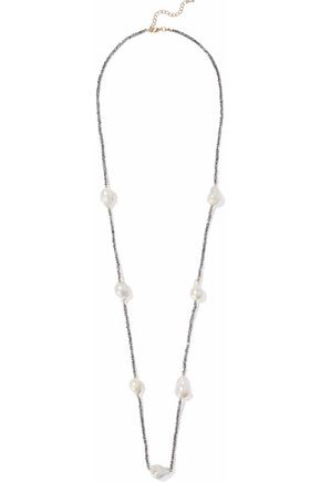 KENNETH JAY LANE Faux mother-of-pearl beaded necklace