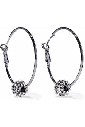 KENNETH JAY LANE Gunmetal-tone crystal earrings