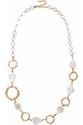 KENNETH JAY LANE Gold-tone faux mother of pearl necklace