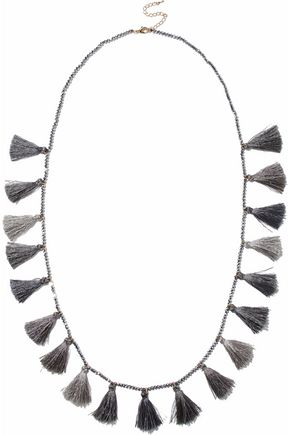 KENNETH JAY LANE Gunmetal-tone beaded tasseled necklace
