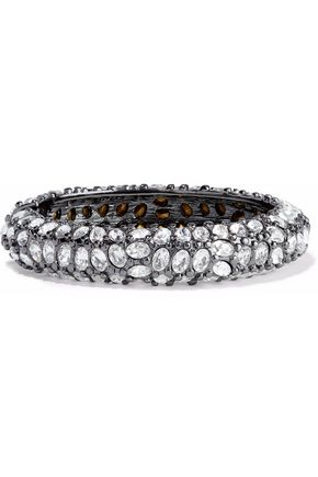Kenneth Jay Lane Gunmetal Black Crystal Bracelet Black PztVElK6L
