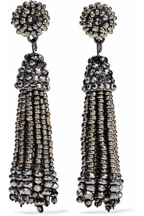 KENNETH JAY LANE Gunmetal-tone beaded tassel earrings
