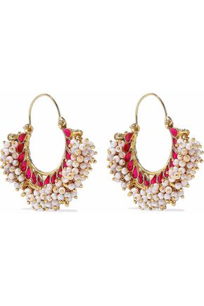 KENNETH JAY LANE Gold-tone faux pearl and crystal earrings