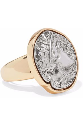 KENNETH JAY LANE Embossed silver-tone and gold-tone ring