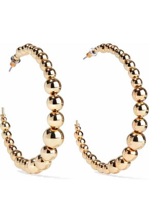 KENNETH JAY LANE Gold-tone bead hoop earrings