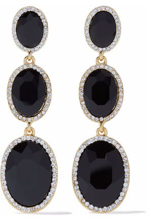 KENNETH JAY LANE Gold-tone stone and crystal earrings