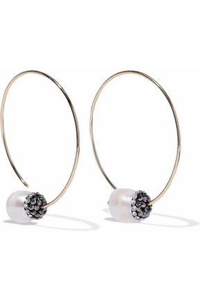KENNETH JAY LANE Gold-tone, faux pearl and crystal earrings