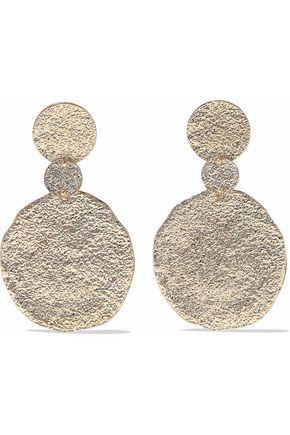 KENNETH JAY LANE Textured gold-tone earrings