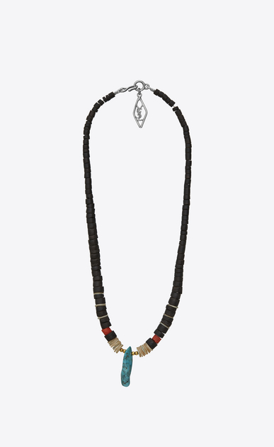 SAINT LAURENT Long necklace Man TRIBAL necklace in wood, mother-of-pearl, Gorgonian coral, turquoise and silver-toned brass   a_V4