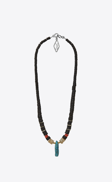 SAINT LAURENT Long necklace Man tribal necklace in wood, mother-of-pearl, gorgonian coral, turquoise and silver-toned brass b_V4