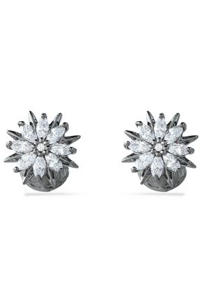 NOIR JEWELRY Silver-tone crystal stud earrings