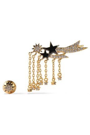 NOIR JEWELRY Gold-tone crystal earring and ear cuff set