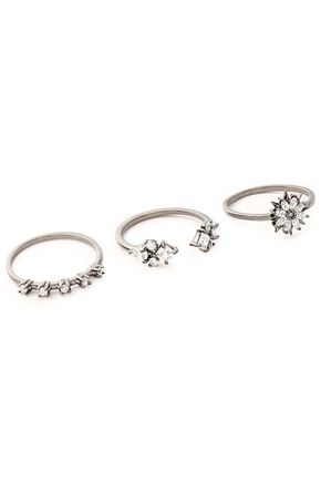NOIR JEWELRY Set of three gunmetal-tone crystal rings