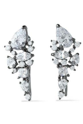 NOIR JEWELRY Gunmetal-tone crystal earrings
