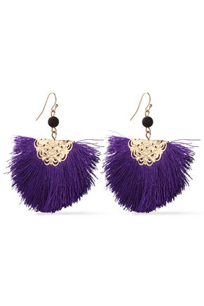 KENNETH JAY LANE Fringed gold-tone bead earrings