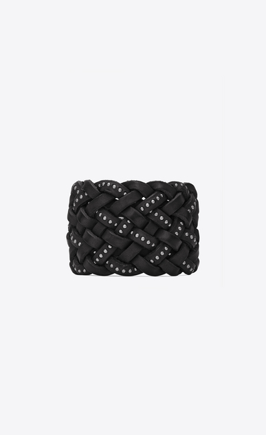 SAINT LAURENT Bracelets Woman MARRAKECH cuff bracelet in plaited and studded black leather a_V4