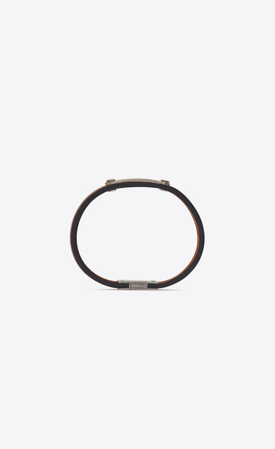 SAINT LAURENT Bracelets Woman Narrow ID bracelet in brown leather and metal b_V4