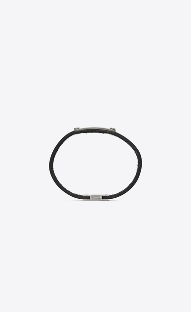 SAINT LAURENT Bracelets Woman Narrow ID bracelet in black leather and metal b_V4
