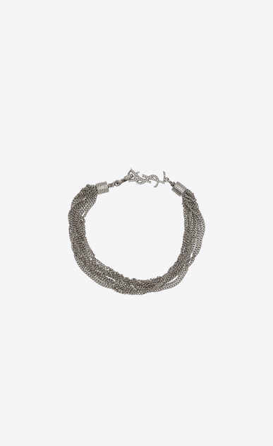 SAINT LAURENT Bracelets Woman LOULOU necklace with twisted chains in silver brass a_V4