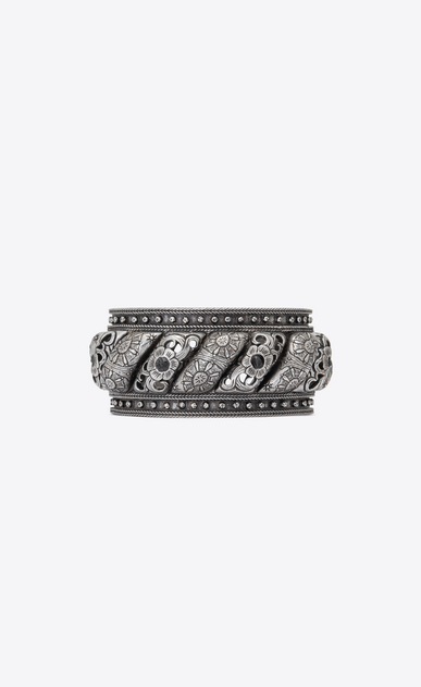 SAINT LAURENT Bracelets Woman MARRAKECH cuff bracelet in silver-toned tin and black agate a_V4