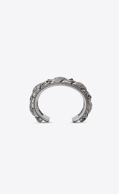 SAINT LAURENT Bracelets Damen MARRAKECH Armreif aus silberfarbenem Zinn mit schwarzem Agat b_V4