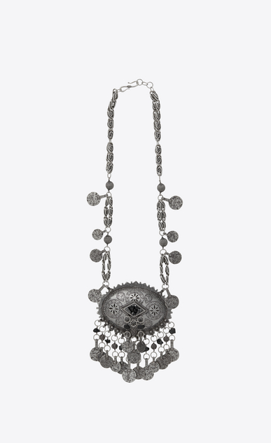 SAINT LAURENT Long necklace Woman MARRAKECH necklace with silver-toned brass tassels and gemstones a_V4