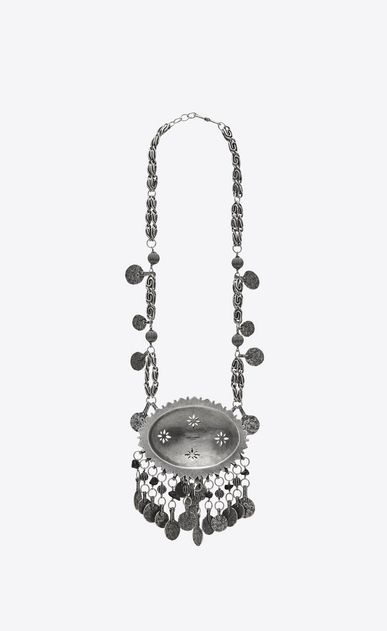 SAINT LAURENT Long necklace Woman MARRAKECH necklace with silver-toned brass tassels and gemstones b_V4