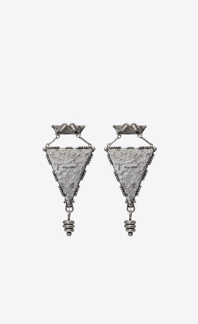 SAINT LAURENT Earrings Woman MARRAKECH triangle earrings in silver-toned tin b_V4