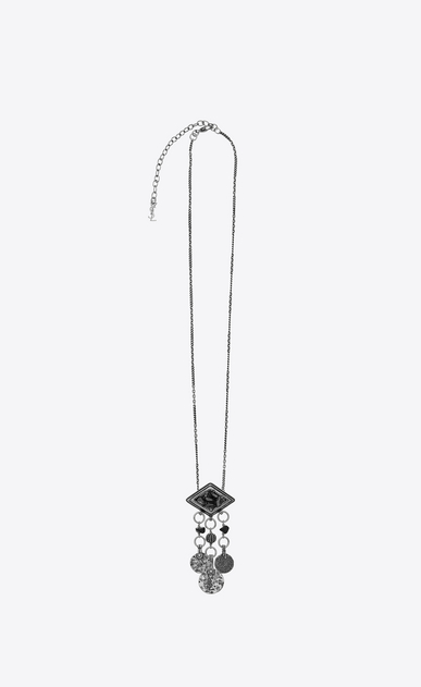SAINT LAURENT Long necklace Woman marrakech diamond-shaped pendant with tassels in silver-colored tin a_V4
