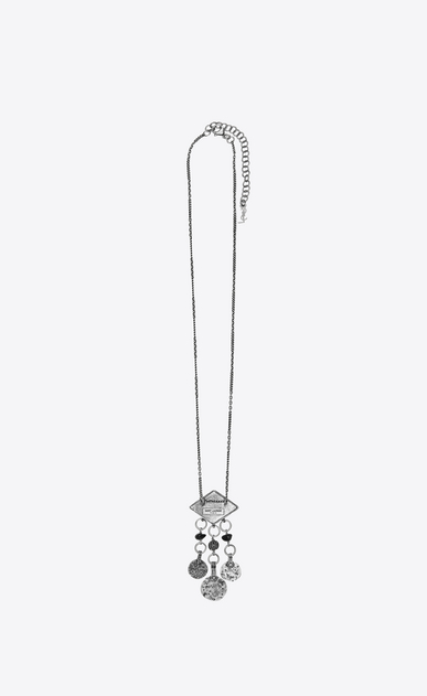 SAINT LAURENT Long necklace Woman marrakech diamond-shaped pendant with tassels in silver-colored tin b_V4