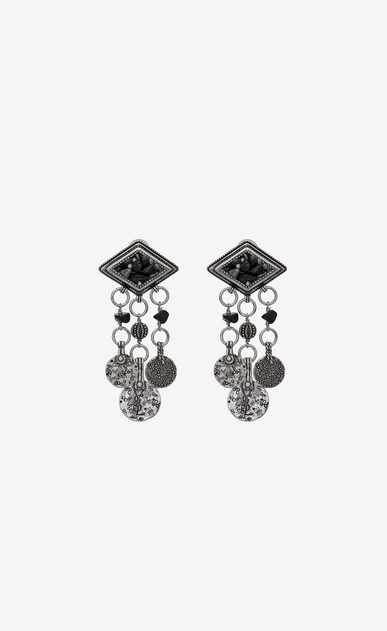 MARRAKECH diamond-shaped earrings in silver-toned tin with tassels