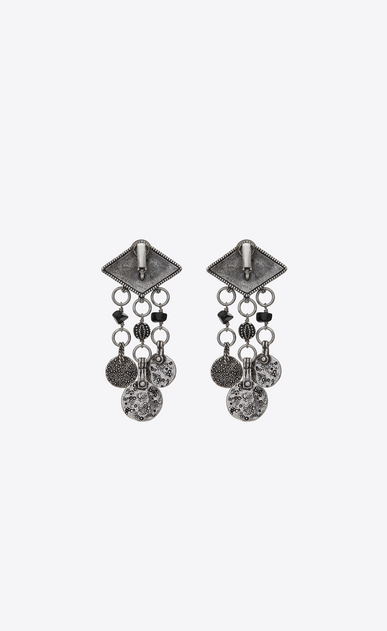 SAINT LAURENT Earrings Woman MARRAKECH diamond-shaped earrings in silver-toned tin with tassels b_V4