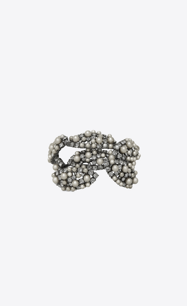 SAINT LAURENT Bracelets Woman SMOKING PERLE leaf-design cuff bracelet in silver-toned brass a_V4